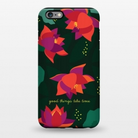 iPhone 6/6s plus  Midnight Flowers - Green by Stefania Pochesci