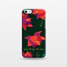 iPhone 5C  Midnight Flowers - Green by Stefania Pochesci (Floral,pattern,inspirational quote,green,woods,midnight,nocturne,illustration)