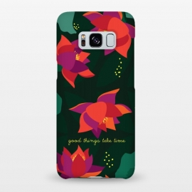 Galaxy S8+  Midnight Flowers - Green by Stefania Pochesci (Floral,pattern,inspirational quote,green,woods,midnight,nocturne,illustration)