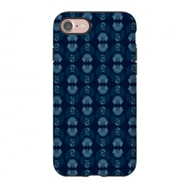 iPhone 7 StrongFit Geometric Tulips in blue by Stefania Pochesci (geometric ,minimal,tulips,pattern)