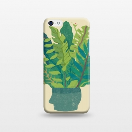 iPhone 5C  GREEN MIND by Ilustrata (green,natural,head,mind,cool,design,plant)