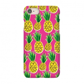 iPhone 8/7 SlimFit Painted pineapples by Laura Grant (pineapple,fruit,tropical,summer)