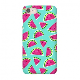 iPhone 8/7 SlimFit painted watermelon by Laura Grant (watermelon,fruit,tropical,summer)