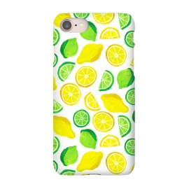 iPhone 8/7 SlimFit painted lemon and limes by Laura Grant (lemon,lime,fruit,tropical,summer)