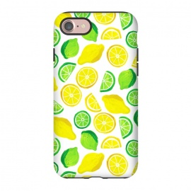 iPhone 8/7  painted lemon and limes by Laura Grant (lemon,lime,fruit,tropical,summer)