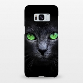 Galaxy S8+  Black Cat by Sitchko Igor (Cat,Black,Dark,Green,Eyes,wild,glass,meow,look)