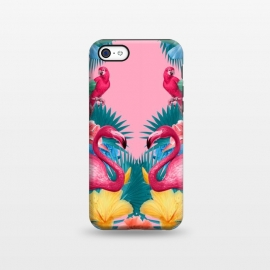 iPhone 5C  Flamingo and Tropical garden by Burcu Korkmazyurek