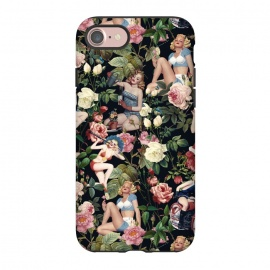 iPhone 7  Floral and Pin Up Girls Pattern by Burcu Korkmazyurek