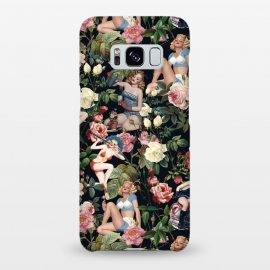 Galaxy S8+  Floral and Pin Up Girls Pattern by Burcu Korkmazyurek