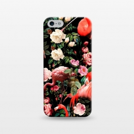 iPhone 5/5E/5s SlimFit Floral and Flemingo Pattern by Burcu Korkmazyurek (animals,flamingos,nature,birds,garden,forest,night,jungle,tropical,botanical)