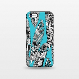 iPhone 5C  Turquoise Feathers by Sharon Turner