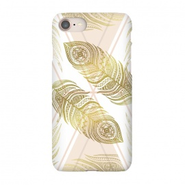 iPhone 7 SlimFit Gold Feathers by Barlena (feathers, geometric, triangle, apricot, gold, zentangle, symmetric)
