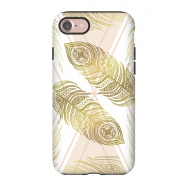iPhone 7 StrongFit Gold Feathers by Barlena (feathers, geometric, triangle, apricot, gold, zentangle, symmetric)