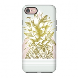 iPhone 7  Golden Pineapple by Barlena (Fruit, pineapple, gold, golden, shine, triangle, geometric, green, pink)