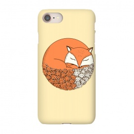 iPhone 7 SlimFit Fox-baige by Coffee Man (fox,animal,leaves,fall,baige,cute,adorable,circle,nature,animal lover,dog)