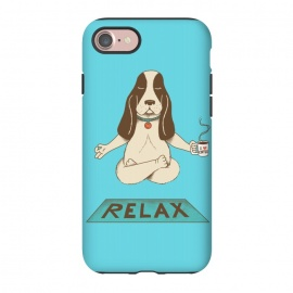 iPhone 8/7  Dog Relax by Coffee Man (dog,yoga,pet,pet lover,coffee,funny,fun,cute,adorable,animal,relax,relaxing,animal lover)