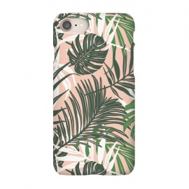 iPhone 7 SlimFit Hideaway by Heather Dutton (tropical,tropical pattern,tropical print,tropical leaves,hawaii,palm,palm leaves,nature,nature inspired,pattern,pink,green,tropics)