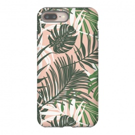 Hideaway by Heather Dutton (tropical,tropical pattern,tropical print,tropical leaves,hawaii,palm,palm leaves,nature,nature inspired,pattern,pink,green,tropics)