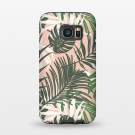 Galaxy S7  Hideaway by Heather Dutton (tropical,tropical pattern,tropical print,tropical leaves,hawaii,palm,palm leaves,nature,nature inspired,pattern,pink,green,tropics)