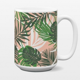 15 oz Standard Mug Hideaway by Heather Dutton (tropical,tropical pattern,tropical print,tropical leaves,hawaii,palm,palm leaves,nature,nature inspired,pattern,pink,green,tropics)