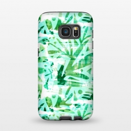 Galaxy S7  Abstract Jungle by Heather Dutton (tropical,tropical pattern,tropical print,tropics,jungle,tropical leaves,leaves,nature,nature inspired,aqua,green,watercolor,mixed media,abstract,pattern)