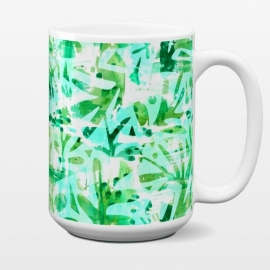 15 oz Standard Mug Abstract Jungle by Heather Dutton (tropical,tropical pattern,tropical print,tropics,jungle,tropical leaves,leaves,nature,nature inspired,aqua,green,watercolor,mixed media,abstract,pattern)