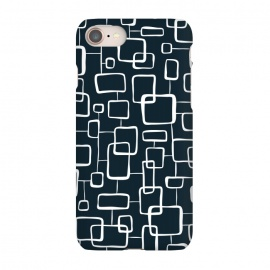 iPhone 7 SlimFit On The Quad  by Heather Dutton (geometric,geo,geometric pattern,geometric print,black,navy,navy blue,retro,midcentury,midcentury modern,abstract,pattern,vintage)