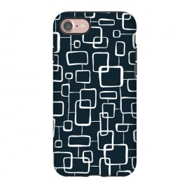 iPhone 8/7  On The Quad  by Heather Dutton (geometric,geo,geometric pattern,geometric print,black,navy,navy blue,retro,midcentury,midcentury modern,abstract,pattern,vintage)