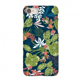 iPhone 7 SlimFit Succulent Garden Blue by Heather Dutton (succulent,succulents,tropical,tropical pattern,tropical print,cactus,blue,navy,navy blue,pattern,nature,nature inspired,desert,plant,plants)