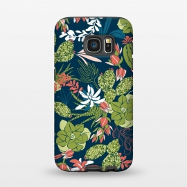 Galaxy S7  Succulent Garden Blue by Heather Dutton (succulent,succulents,tropical,tropical pattern,tropical print,cactus,blue,navy,navy blue,pattern,nature,nature inspired,desert,plant,plants)