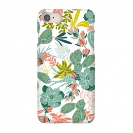 iPhone 7 SlimFit Succulent Garden White by Heather Dutton (succulent,succulents,tropical,tropical pattern,tropical print,cactus,nature,nature inspired,desert,plant,plants,white)