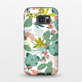 Galaxy S7  Succulent Garden White by Heather Dutton (succulent,succulents,tropical,tropical pattern,tropical print,cactus,nature,nature inspired,desert,plant,plants,white)