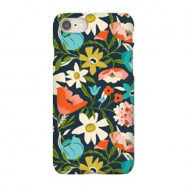 iPhone 7 SlimFit Nightshade by Heather Dutton (floral,floral pattern,floral print,flower,florals,flowers,nature,nature inspired,garden,leaves,plant,plants,blue,feminine,bloom,pattern)