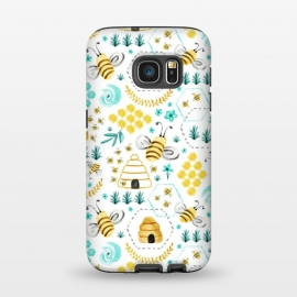 Galaxy S7  Busy Bees by Heather Dutton (Bee,Bees,insect,insects,honeycomb,beehive,watercolor,watercolour,floral,florals,flower,flowers,pattern,bee pattern,summer,bumble bee,painting,nature,nature inspired,yellow,aqua)