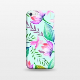 iPhone 5C  Zen by Uma Prabhakar Gokhale (watercolor, pattern, acrylic, nature, lotu, lilly, lillies, botanical, water, floral, bloom, tropical, blossom, exotic)