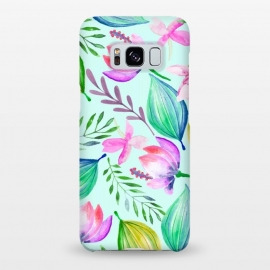 Galaxy S8+  Zen by Uma Prabhakar Gokhale (watercolor, pattern, acrylic, nature, lotu, lilly, lillies, botanical, water, floral, bloom, tropical, blossom, exotic)