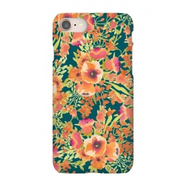 iPhone 7 SlimFit Floral Bunch by Uma Prabhakar Gokhale (pattern, watercolor, coral, orange, blossom, bloom, floral, nature, exotic, colorful, summer)