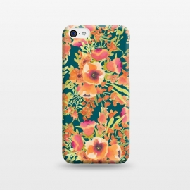 iPhone 5C  Floral Bunch by Uma Prabhakar Gokhale (pattern, watercolor, coral, orange, blossom, bloom, floral, nature, exotic, colorful, summer)