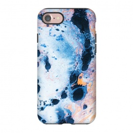 iPhone 8/7  Stone Water by Uma Prabhakar Gokhale (graphic, abstract, random, royal blue, navy blue, orange, contrast, exotic, marble, ink)
