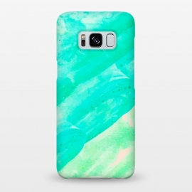 Galaxy S8+  Tropical Souvenir by Uma Prabhakar Gokhale (minimalism, watercolor, acrylic, expressionism, tropical, teal, turquoise, blue, green, sea green, mint, blush, pink)