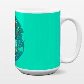 15 oz Standard Mug Siren Songs by Draco (woman,siren,fish,octopus,tentacle,shell,music,phone)