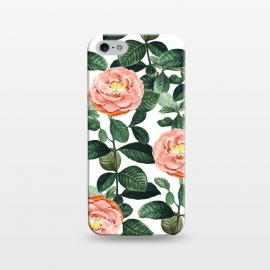 iPhone 5/5E/5s  Josephine by Uma Prabhakar Gokhale (graphic, rose, roses, floral, botanical, nature, leaves, tropical, blush, exotic, blossom, bloom, green, lush)