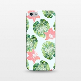 iPhone 5/5E/5s  Monstera and Pink by Uma Prabhakar Gokhale (pattern, watercolor, tropical, monstera, floral, blush, pink, exotic, nature, botanical)
