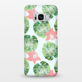 Galaxy S8+  Monstera and Pink by Uma Prabhakar Gokhale (pattern, watercolor, tropical, monstera, floral, blush, pink, exotic, nature, botanical)