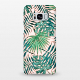 Galaxy S8+  Bali II by Uma Prabhakar Gokhale (pattern, acrylic, watercolor, tropical, nature, botanical, monstera, palm, palm leaves, palm leaf, blush, green, greenery, exotic)