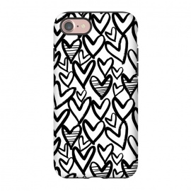iPhone 8/7  Black and white hearts by Laura Grant (heart,love,love heart,painted)