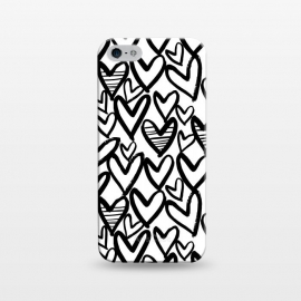 iPhone 5/5E/5s  Black and white hearts by Laura Grant (heart,love,love heart,painted)
