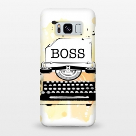 Galaxy S8+  Girl Boss Typewriter by Martina (girlboss,boss,entrepreneur,typewriter,ladyboss,babeboss,yellow,watercolor,stylish,modern,vintage,girlpower)