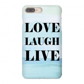 Love Laugh Live by Martina (modern,stylish,typography,watercolor,blue,love,live,laugh,unisex,original,quote)