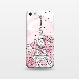 iPhone 5C  Peony Paris by Martina (paris,love,pink,romantic,elegant,modern,stylish,illustration,eiffel tower,nature,floral,flowers,peonies,france,french,pretty,girlie,feminine,watercolor,original, unique)